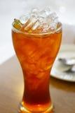 Iced lemon tea. Cold iced lemon tea on table at restaurant stock photo