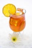 Iced Lemon Tea. In the snow with flower decoration Stock Photos