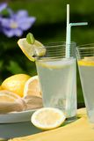 Iced lemonade. Closeup of glass of home made iced cold lemonade and plate of lemon slices on hot summer day Stock Photography