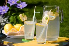 Iced lemonade. Two glasses of home made iced cold lemonade and pitcher on hot summer Royalty Free Stock Photos