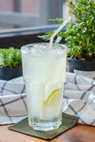 Iced lime soda. On decorative background Royalty Free Stock Photography