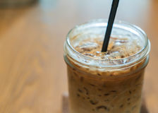 Iced machiato coffee. On table Royalty Free Stock Image