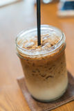 Iced machiato coffee. On table Royalty Free Stock Images