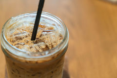 Iced machiato coffee. On table Stock Images