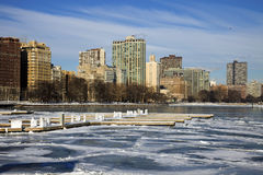 Iced marina in Chicago Royalty Free Stock Photo