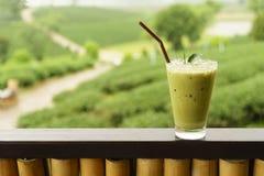 Iced matcha green tea latte Royalty Free Stock Photos