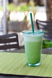 Iced matcha green tea latte, frappe Copy space royalty free stock photography