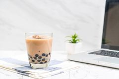 Milk tea with bubble. Iced milk tea with bubble royalty free stock photography