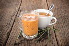Iced milk tea. Famous drink in Thailand stock photography