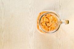 Iced milk tea, Thai Ice Tea on bright wooden background. Stock Photography