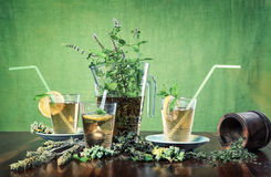 Iced mint tea with glasses and straws Royalty Free Stock Photography