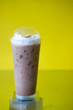 Iced Mocha Coffee. In long glass on the glass table Stock Photography