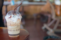 Iced mocha with milk. Micro foam in coffee shop Royalty Free Stock Photography