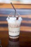 Iced mocha with milk. Micro foam in coffee shop Royalty Free Stock Image