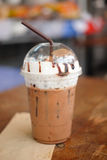 Iced mocha. Mocha with straw in plastic takeaway cup stock photo