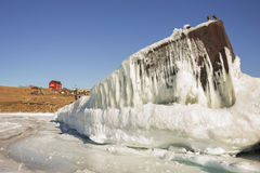 Iced old ship on the Small Sea, Lake Baikal Royalty Free Stock Images