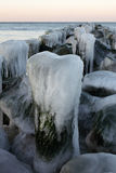 The iced over pier close up. Winter, frost a minus of ten degrees, coast of Baltic (Kaliningrad), the iced over wooden columns of a breakwater leaving in the sea Stock Images