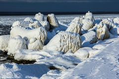 The iced over pier close up. Outside was cold -15degress in Latvia, bolderaja breakwater Royalty Free Stock Image