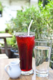 Iced roselle juice. With its syrup in a small jug and drinking water Royalty Free Stock Photos