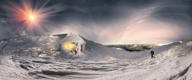 Iced shelter from the rising  moon Royalty Free Stock Images