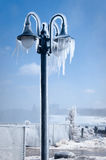 Iced street lamp. Street lamp near canadian Niagara waterfall, frosen by cold mist Royalty Free Stock Photography