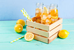 Iced summer tea with lemon Royalty Free Stock Images