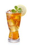Iced tea. Glass of iced tea isolated on white stock image