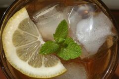 Iced Tea. Looking down into a glass of iced tea Stock Photos