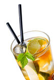 Iced tea. Close up of iced tea in highball glass with black straw Stock Images