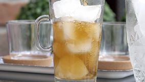 Ice tea slow motion, 180fps, HD stock video footage