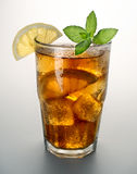 Iced tea. Glass on white background Stock Image