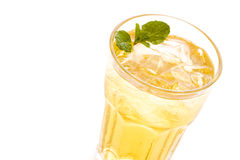 Iced tea. Green iced tea on a white background royalty free stock photos