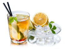 Iced tea. With ingredients in transparent saucer Royalty Free Stock Images