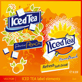 Iced Tea label elements Royalty Free Stock Image