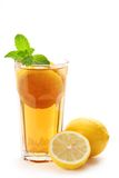 Iced tea with lemon. Isolated on white stock photo
