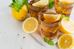 Iced tea with lemon and mint Stock Image