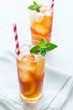 Iced tea with lemon and mint royalty free stock photography