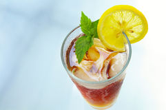 Iced tea with lemon and mnt Royalty Free Stock Photography