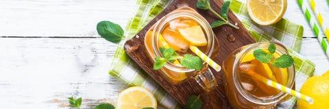 Iced tea with lemon. Royalty Free Stock Photo