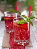 Iced tea with lemon slices Stock Photos