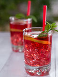 Iced tea with lemon slices Stock Images