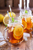 Iced tea with lemon slices Stock Photography