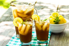 Iced Tea With Lemons and Mint Royalty Free Stock Photos