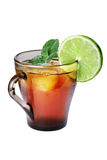 Iced tea and lime Royalty Free Stock Image