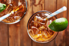 Iced tea with lime wedge top down close up Royalty Free Stock Photography