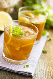 Iced tea. Passion fruit and honey iced tea royalty free stock images