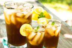 Iced Tea On Picnic Table With Lemons And Mint Stock Image