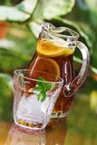 Iced tea in pitcher stock photo