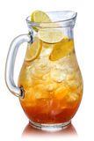 Iced tea in the pitcher. A jug of cold tea Royalty Free Stock Images