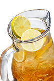 Iced tea in the pitcher. A jug of cold tea. Close up Royalty Free Stock Photos